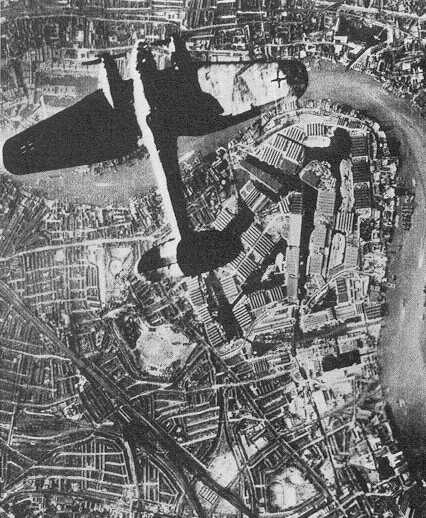 German propaganda photograph of a bomber over Surrey Docks