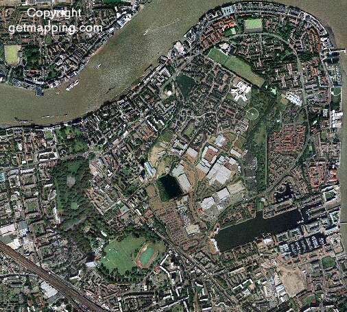 A getmapping.com aerial low resolution photograph of Rotherhithe